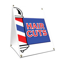 A-frame Sidewalk Sign Hair Cuts With Graphics On Each Side