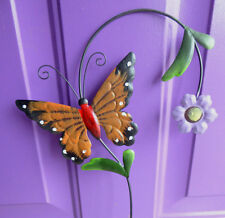 1 Brown Butterfly Tall Calif Drought Flower Bug Yard Art Metal Stake Decor