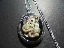 SKELETON SNAKE CHARMER CAMEO LOCKET HAND PAINTED SKULL