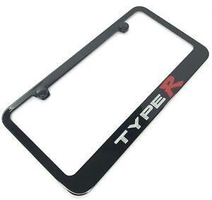 License Plate Frame for Honda Civic Type R (Black w/ Silver & Red Logo / Emblem)