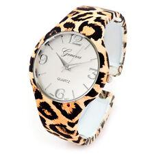 Cheetah Print Large Dial Silk Finish Women's Bangle Cuff Watch