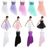Girls Kids Ballet Tutu Dress Gymnastics Leotard Ballroom Skating Dance Costume