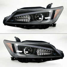 Scion tC 2011-2013 Black Projector LED Light Bar DRL Headlights Pair w/ LED Turn