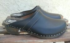 SVENSK FOTRIKTIG TRATOFFEL Black Leather Clogs Eur 43 US 12 / 12.5