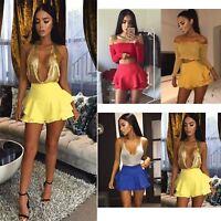 Ladies Womens Party Ruffled Frill Layered Skorts High Waisted Skirt Mini Shorts