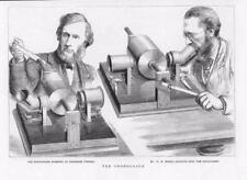 1878 antica stampa-inventore FONOGRAFO Professor Tyndall MR preece (231)
