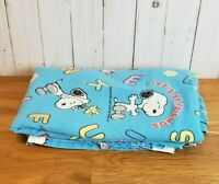 Peanuts Snoopy Vintage Twin Flat Bed Sheet Blue Fabric Let's be Friends Alphabet