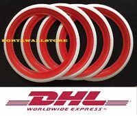 "13/"" Whitewall Rubber Disc Circle Ring Round TOPPER Tire Trim Set 4pcs   #022"