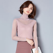 Women Base Shirt Sheer Mesh Blouse Lace Long Sleeve Slim Tops High Neck Autumn