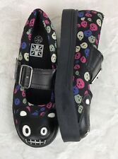 TUK Women's Black Vegan Skull Teddy Bear Mary Jane Creeper Shoes KA Sz 7