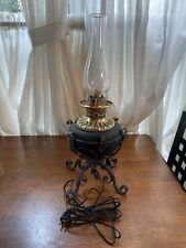 Wrought Iron and Brass Rochester Banquet Piano Parlor Kerosene Oil Lamp Electric
