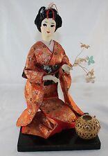 Vtg Japanese Nishi Geisha Sakura Ningyo Kimono Doll on Display Stand Woven Bowl