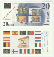 France 20 Euro 1998 UNC Specimen Test Note Banknote