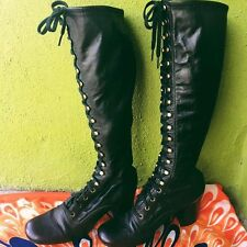 Rare Vtg 1960s Black Mod Go Go Lace Up Boots 6 Perfect Condition!