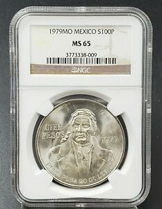 1979 Mexico Silver 100 Pesos S100P NGC MS65 Certified GEM BU Collector Case Slab