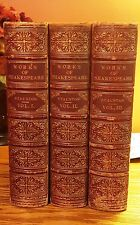 ANTIQUE 1866 LEATHER WORKS OF SHAKESPEARE ILLUSTRATED GOLD LEAF BOOK SET 3 VOL