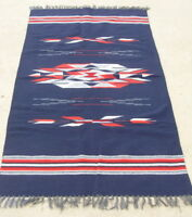 "Excellent Vintage Navy Blue Chimayo Weaving Rug Blanket 35x74 """