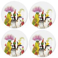 "Vicki Sawyer 7"" Entourage Plates - Set of 4 Dessert Salad Plates, Bone China"