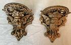 VTG  Pair Heavy Cast Iron Ornate Gothic Gold Tone North Face Shelf Sconce Corbel