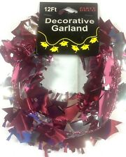 Graduation Hat Burgundy Silver WIRE GARLAND 12 FT. Grad Party Decoration    5-5