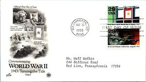 World War II 1943: Turning the Tide Gold Star First Day Cover 1993 cachet