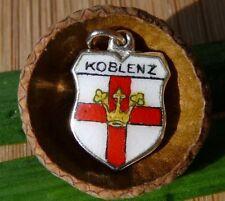 VINTAGE 800 SILVER enamel KOBLENZ Germany shield CHARM (C-233)