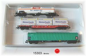 "Trix Minitrix 15303 Wagon Set "" Transport of Goods "" DB Ag 3-teilig # New IN"