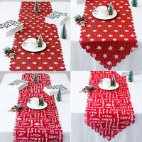 Vintage Christmas Table Runner Party Wedding Tablecloth Cover Home Xmas Decor