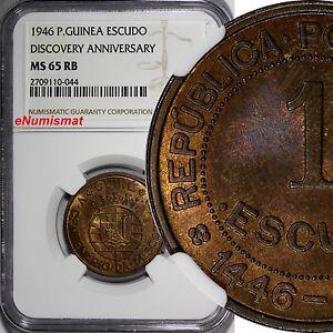 Guinea-Bissau Bronze 1946 Escudo NGC MS65 RB Discovery Anniversary KM# 7