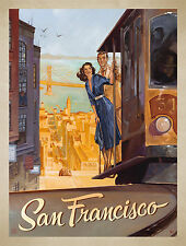 San Francisco  art Vintage Illustrated Travel Poster Print   Framed Canvas