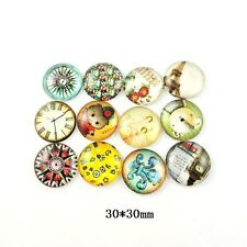 38758 Round Mix Style Glass Cover Cameo Cabochon Flat Back Jewelry 30mm 10PCS