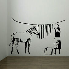 LARGE BANKSY STICKER ZEBRA STRIPES LAUNDRY ROOM WALL ART MURAL TRANSFER UK DECAL