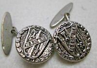 Vintage Cufflinks Silver Tone Shield Knight Round Medieval