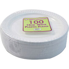 """1000 x WHITE PLASTIC PLATES ROUND 18cm 7"""" TABLEWARE PARTY PLATE DISPOSABLE NEW"""