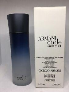 RARE Armani Code Summer By Giorgio Armani Men Eau Fraiche Spray 2.5 oz 75 ml New