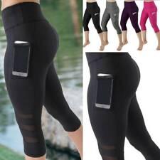 Womens Capri Yoga Pants High Waisted Leggings Cropped Pockets Fitness Gym Sports