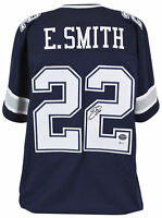 Cowboys Emmitt Smith Authentic Signed Navy Jersey Autographed BAS Witnessed