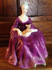 "Vintage 6 1/4"" Royal Doulton CHARLOTTE Woman w/ Chihuahua Dog Figurine HN 2421"