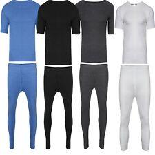 Mens Thermal Long John Short Sleeve T-Shirts Winter Warm Thermal Underwear Set