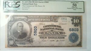1902 $10 Fr 633 PB CHARTER 5803 NATIONAL BANK NOTE LOW SERIAL #3351 NB ESSEX, IA