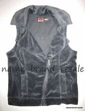 JUICY COUTURE Gray Velour MOTO Zip VEST Womens L LARGE Sleeveless Coat Jacket