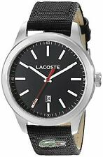 Lacoste 2010778 Men's Aukland 44mm Black Dial Black Canvas Strap Watch