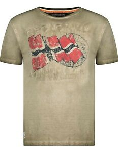 Geographical Norway Mens T-shirt, Size Small, Washed khaki, Norge, Norwegian