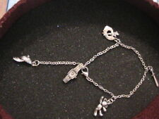 Bracciale cavigliera con ciondoli charms in argento rodiato anallergico NUOVO