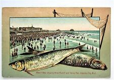 Fish Border HOTEL & PIER Atlantic City NJ Swimmers Schwalbach Embossed Postcard