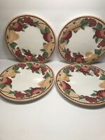 4 PIER 1 ''MOSIAC FRUIT'' EARTHENWARE DINNER PLATES   10 1/2''