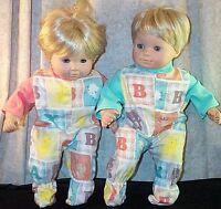 "Doll Clothes Baby Made 2 Fit American Girl 15"" inch Boy Twin Pajamas Animals"