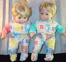"""Doll Clothes Made 2 Fit American Girl 15"""" in Twin Bitty Pajamas 2pcs ABC Animals"""