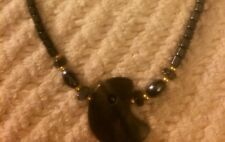 Beautiful Jasper Pendant & Hemitite Necklace Vintage 1980's Dezigns By Zetroc