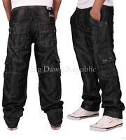 Peviani Mens Boys Black 002 Cargo Combat Style Jeans Hip Hop Is Time Nappy Money